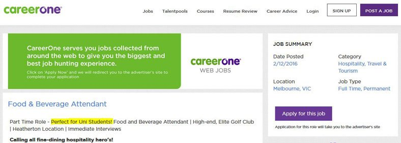 careerone food and beverage attendant opening